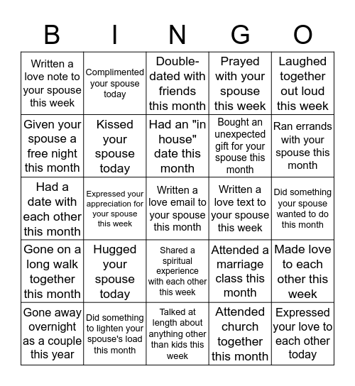 Couples Bingo Card