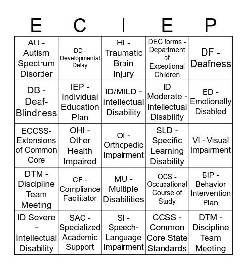 EC Categories Bingo Card