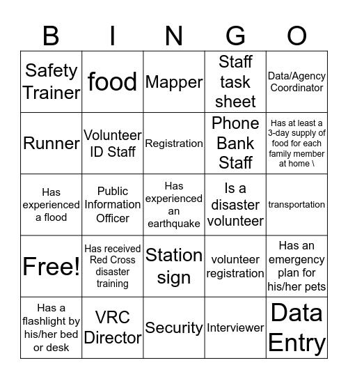 Spontaneous Disaster Training  Bingo Card