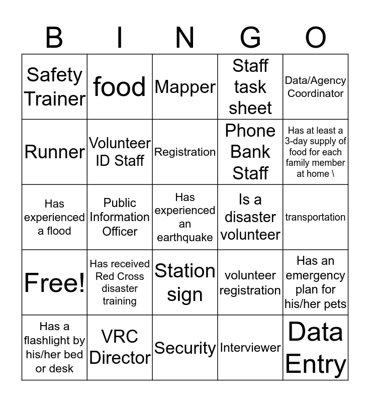 Spontaneous Disaster Training  Bingo Card