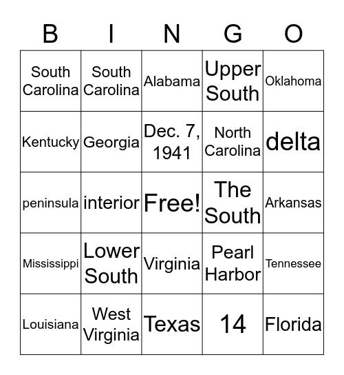 Social Studies Trivia Bingo Card