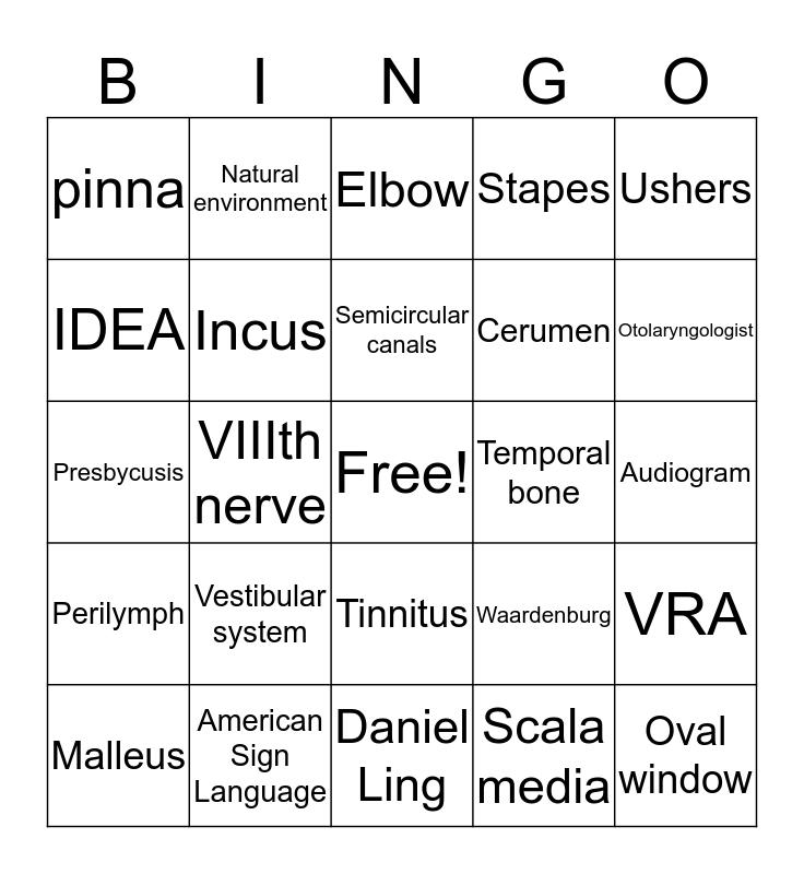 Ear Bingo Card