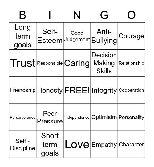 Life Skills Bingo! Bingo Card
