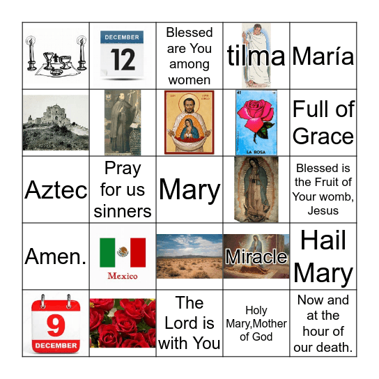 Our Lady of Guadalupe Bingo Card