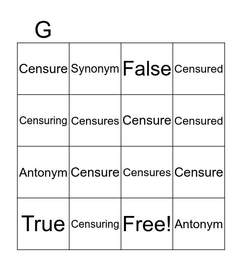 """Censure"" Bingo Card"