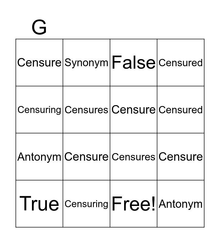 """Censure"" Bingo Card"