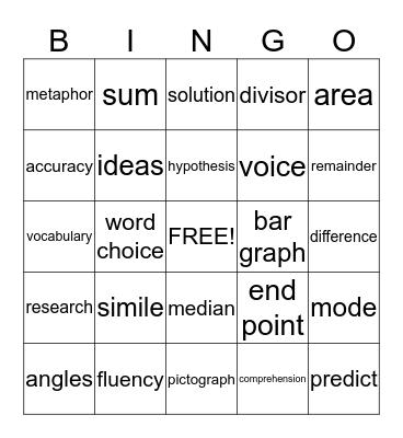 5th Grade Vocabulary Bingo Card