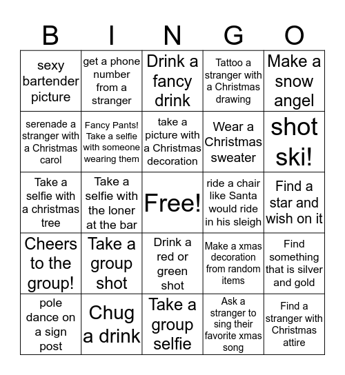Pub Crawl Christmas Bingo Card