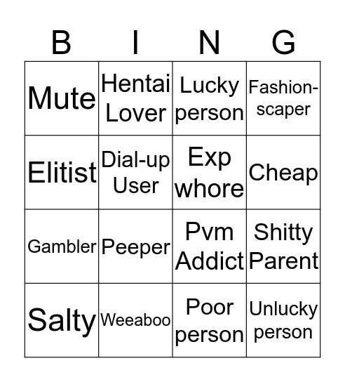 Runescape Clan Bingo Card