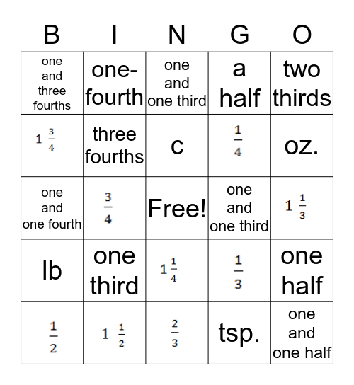 Cooking with Fractions Bingo Card