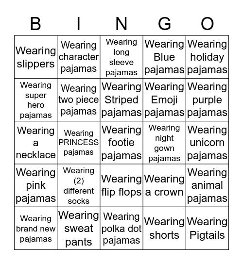 Pajama Dance Party Bingo Card