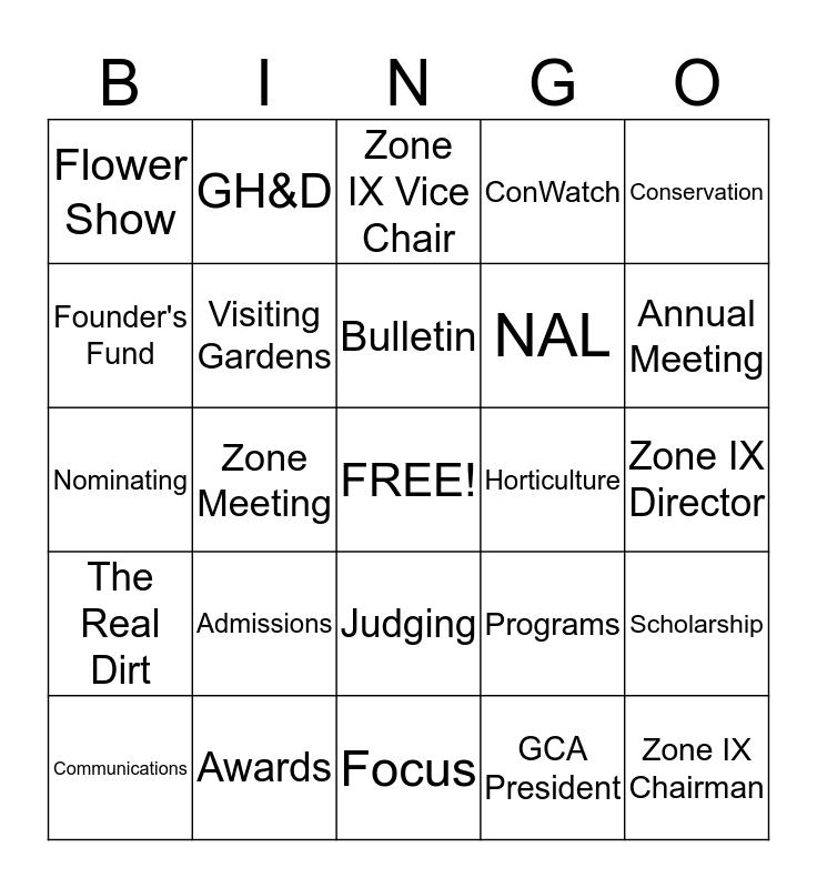 ZONE REP. and Other GCA Trivia Bingo Card