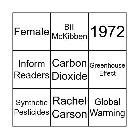 Environmental Bingo Card
