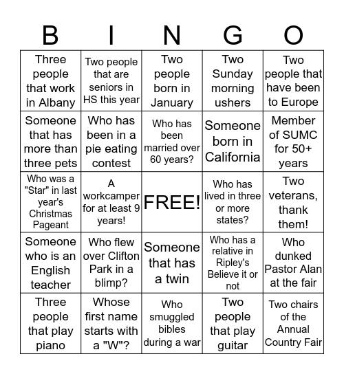 SUMC Trivia 2013 Bingo Card