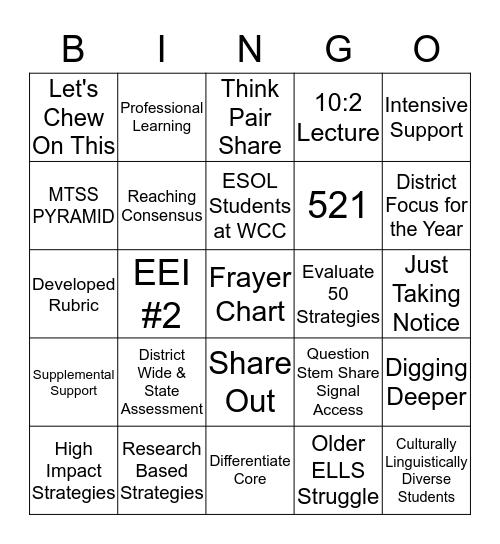 ESOL BINGO BLACKOUT Bingo Card