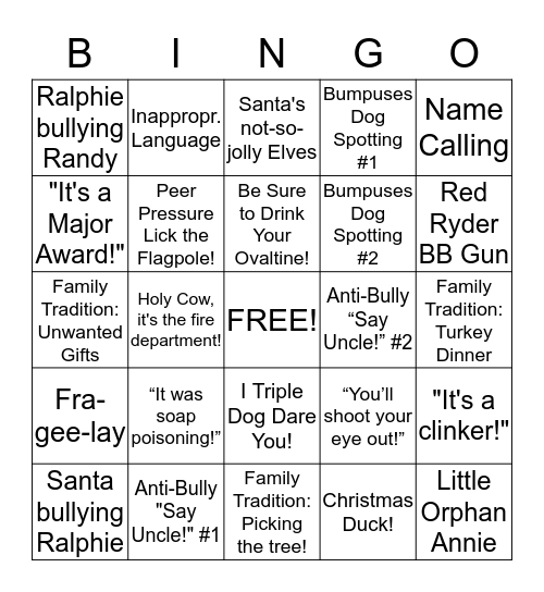 A Christmas Story Bingo Card