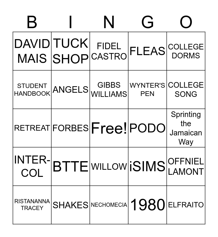 GCFC 2017 Retreat Bingo Card