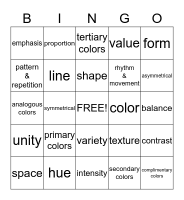 ART TERMS Bingo Card