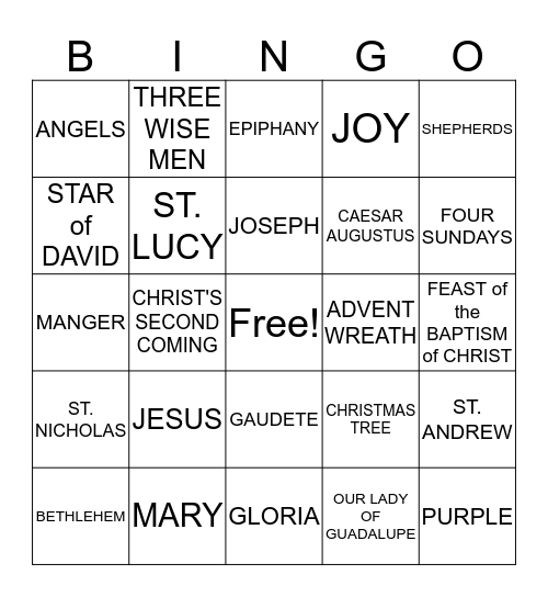 ADVENT/CHRISTMAS Bingo Card