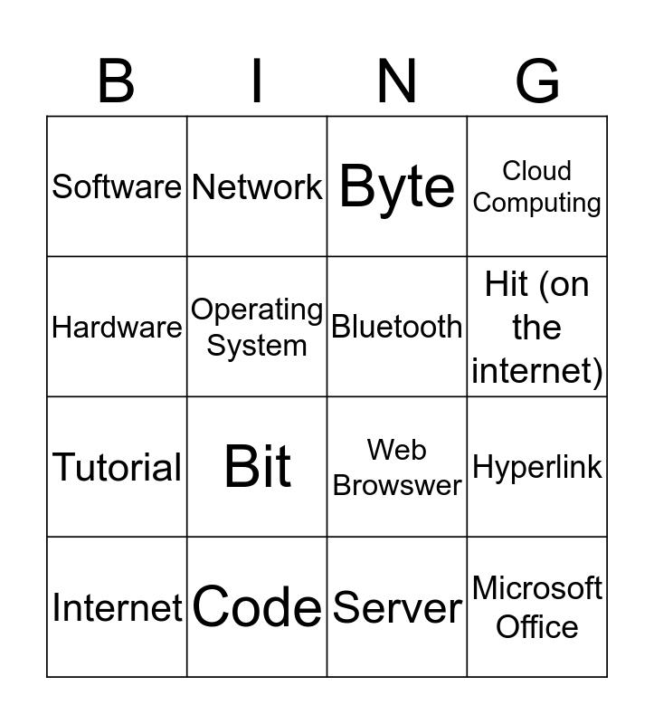 Technology Terms Bingo Card