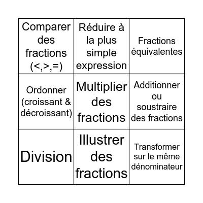 Mathématique - Thème 2 Bingo Card