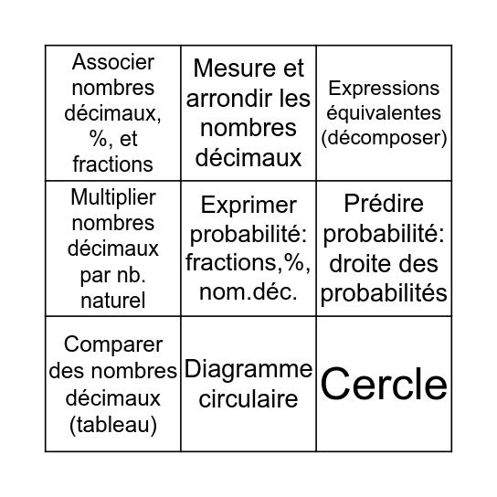 Mathématique - Thème 3 Bingo Card
