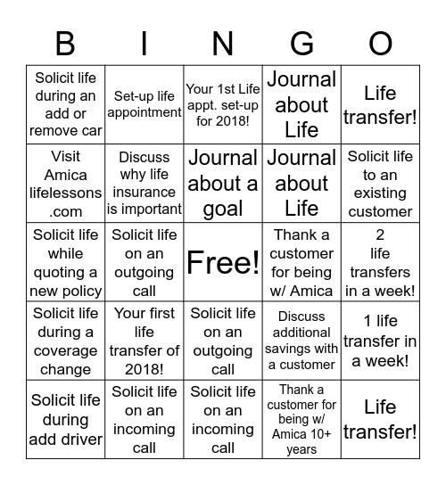 Life! Bingo Card