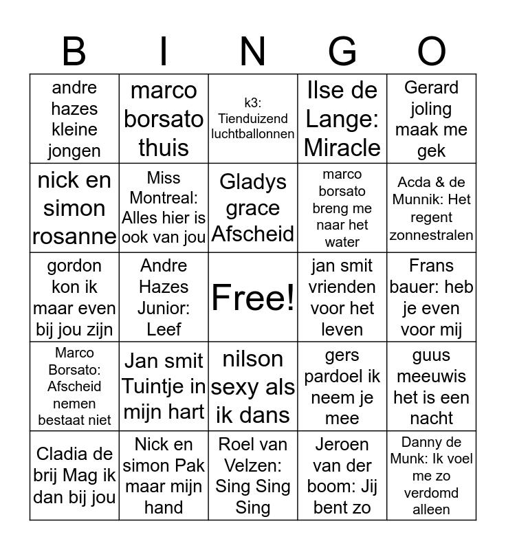 90's swingo Bingo Card
