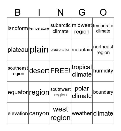Lesson 1 & 2 Vocabulary Bingo Card