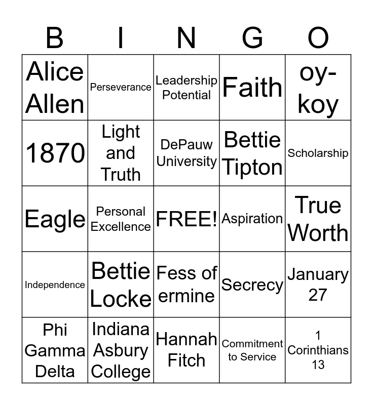 Theta Bingo Card