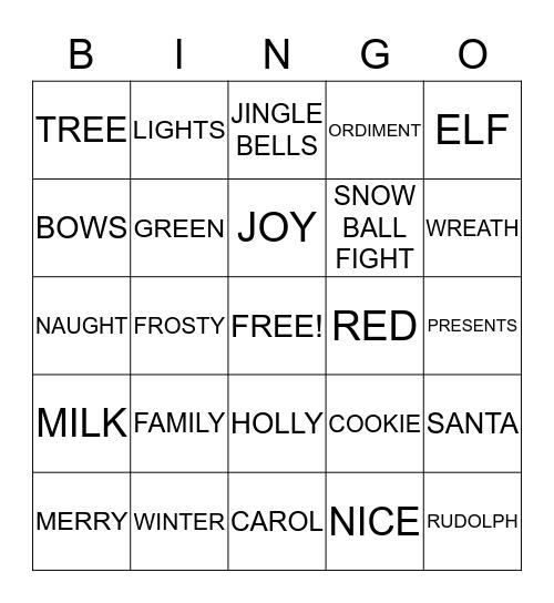 Merry Christmas!!! Bingo Card