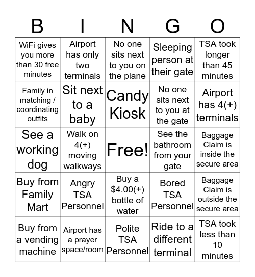 A    I    R    P    O    R    T Bingo Card