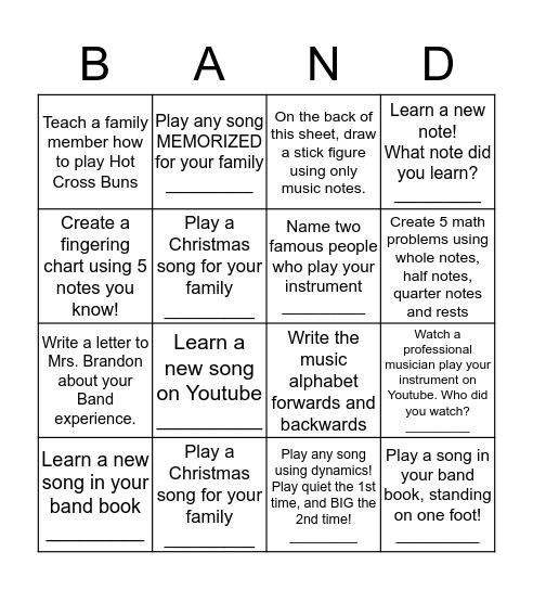 BAND BINGO (Green Belt) Bingo Card