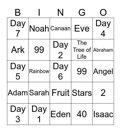 The Book of Genesis Bingo Card