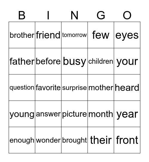 Sight Words Unit 6 Bingo Card