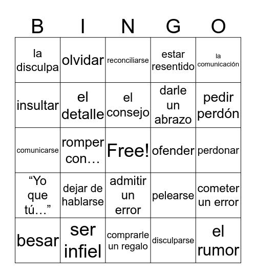 Vocabulario 2 Capítulo 3 Bingo Card