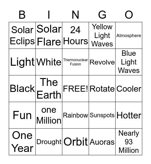 Sun Bingo Card