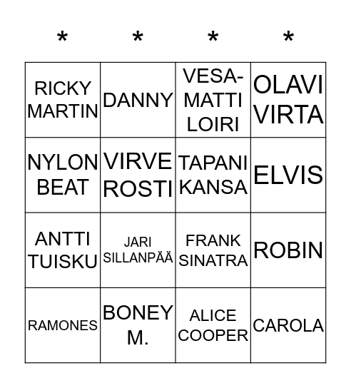 BIISI-BINGO JOULU EDITION Bingo Card