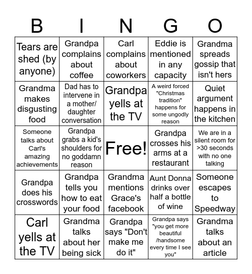 Family Suffering Bingo Card