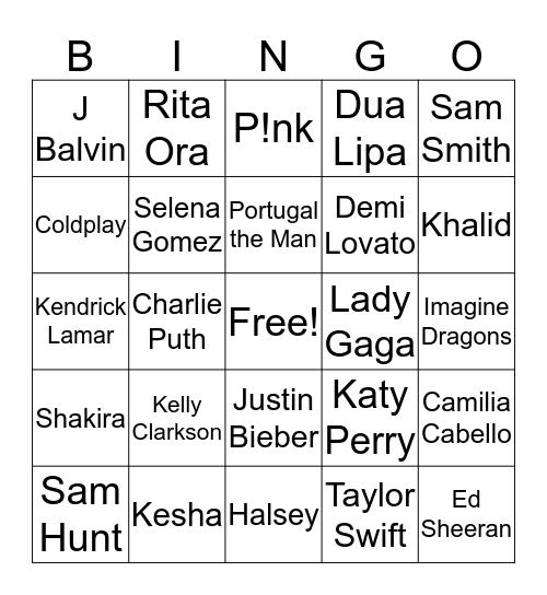 Best of 2017 Music Bingo Card