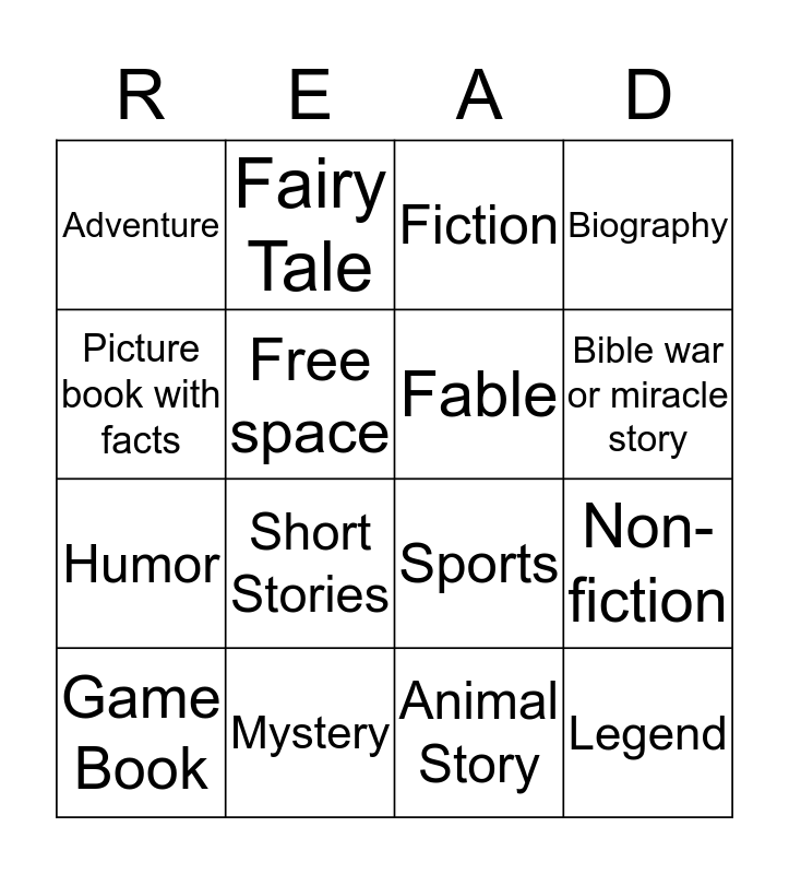 The Books I Have Read Bingo Card