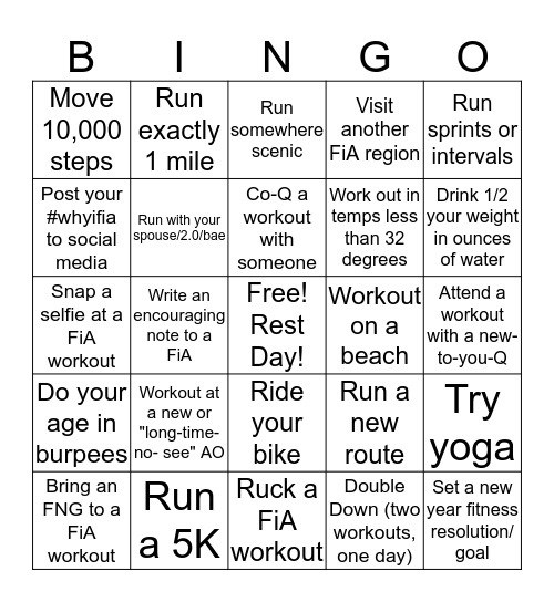January Bingo Challenge Bingo Card