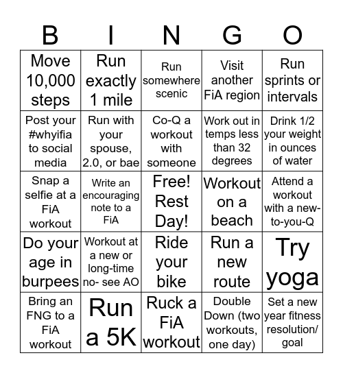 January Bingo Challenge Bingo Card