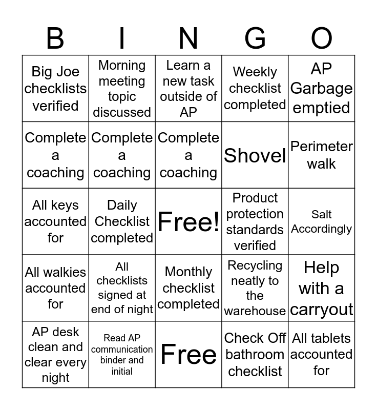 Back to the Basic's Bingo Card