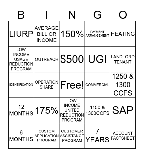 CUSTOMER OUTREACH Bingo Card