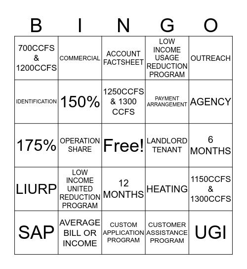 CUSTOMER OUTREACH Bingo Card