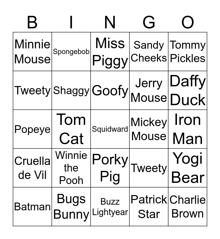 Top Animated Characters in Children's Entertainment Bingo Card