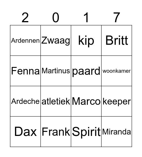 Vrienden Bingo 2017 Bingo Card