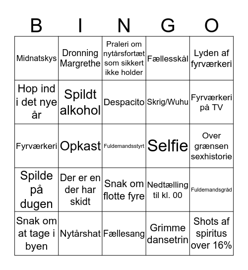 Nytårsaften Bingo Card