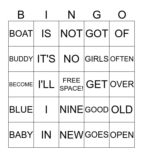 Power Word BINGO Card